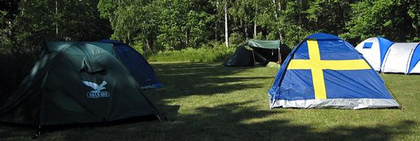 Une tente aux couleurs de la Suède