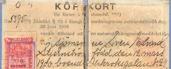Permis de conduire suédois en 1916